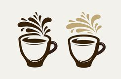 Cafe, coffeehouse logo or emblem. Cup of coffee, espresso, tea, hot drink symbol. Vector illustration. Cafe, coffeehouse logo or emblem. Cup coffee, espresso Royalty Free Stock Photo