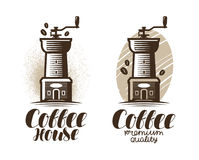 Cafe, coffeehouse logo or label. Coffee grinder, espresso, drink icon. Lettering vector illustration. Cafe, coffee house logo or label. Coffee grinder, espresso Royalty Free Stock Photo