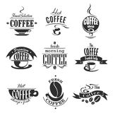 Cafe or coffeeshop icons of coffee cups and beans Royalty Free Stock Photos