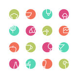 Cafe colored icon set Stock Images