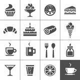 Cafe and confectionery icons. Cafe and confectionery icon set. Sweet baked goods, desserts and coffee. Simplus series vector icons stock illustration