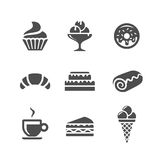 Cafe and confectionery icons. Cafe and confectionery vector icons. Sweet baked goods and desserts royalty free illustration