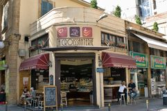 Cafe on the corner  in Nicosia, Cyprus. Royalty Free Stock Photo