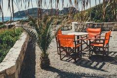 Cafe on Crete Island, Greece Stock Photo