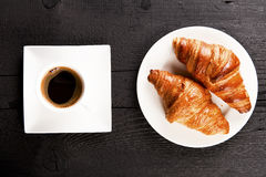 Cafe and croissant Royalty Free Stock Photography