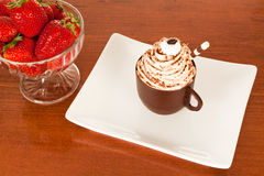 Cafe Cup and Strawberries Royalty Free Stock Image