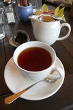 Cafe: cup of tea. Cup of tea at New Zealand outdoor cafe near Whangarei Royalty Free Stock Photo