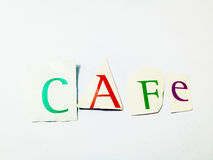 Cafe - Cutout Words Collage Of Mixed Magazine Letters with White Background. Caption composed with letters torn from magazines with White Background Royalty Free Stock Photography