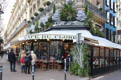 The cafe de Flore decorated for Christmas ,Paris, France. Paris France-November 26 , 2017 :The famous cafe De Flore decorated for Christmas located at the stock photo
