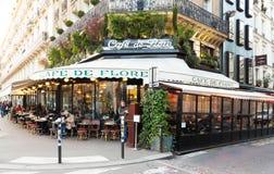 The cafe de Flore,Paris, France. Paris France-February 15 , 201 :The cafe De Flore located at the corner of boulevard Saint Germain and rue Saint Benoit . It royalty free stock photo