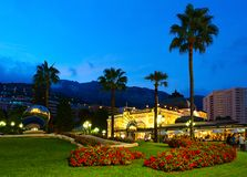Cafe de Paris Monte-Carlo on Place du Casino, evening view, Montу Carlo, Monaco royalty free stock image