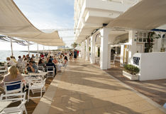 Cafe del mar famous bar terrace in ibiza Royalty Free Stock Photos