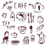 Cafe design elements set Stock Photography