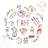 Cafe design elements - watercolor Stock Images