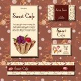 Cafe design template. Hand drawn dessert card. Set of  restaurant menu template for corporate identity. Stock Photo