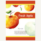 Cafe design. Vector vintage template with apples.  Abstract conc Stock Photo