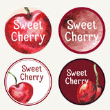 Cafe design. Vector vintage template with sweet cherry.  Abstrac Royalty Free Stock Photo