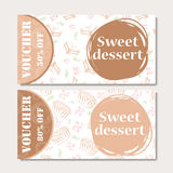 Cafe discount voucher for your business. Modern style with food element on background. Template vector Stock Image