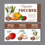 Cafe discount voucher for your business. Modern style with food element on background. Template vector with vegetables vector illustration