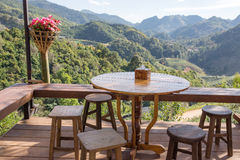 Cafe in Doi AngKhang region with a beautiful mountain view Royalty Free Stock Photo