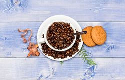 Cafe drinks menu. Arabica robusta coffee variety. Beverage for inspiration and energy charge. Fresh roasted coffee beans. Cup full coffee brown roasted bean stock photos
