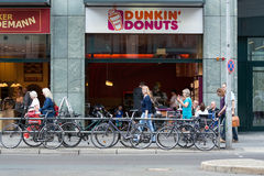 Cafe Dunkin Donuts on Friedrichstrasse Stock Photos