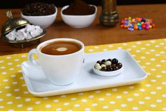 Cafe Espresso. Espresso coffee in white cup royalty free stock image