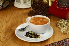 Cafe Espresso. Espresso coffee in white cup royalty free stock photos