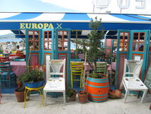 Cafe  Europe. Cafe, restaurant, chairs, breakfast Stock Photos