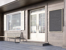 Cafe exterior side. Side view of brown plank cafe exterior with blank chalkboard. Mock up, 3D Rendering Stock Images