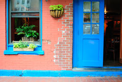 Cafe Facade. The facade to a hip cafe in Tribeca, New York City Royalty Free Stock Photography