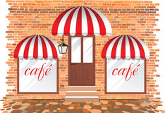 Cafe facade. Highly detailed illustration vector illustration