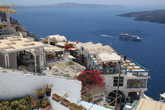 Cafe in Fira town on Santorini Stock Images