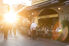 Cafe in Galata tower Royalty Free Stock Photo