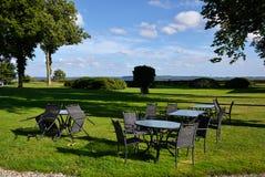 Cafe in a garden by a lake Denmark Stock Image