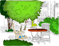 Cafe in the Garden. Partially colored version2 Stock Photos