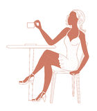 Cafe girl Stock Images