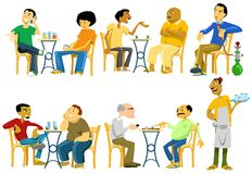 Cafe-Goers in Egypt. Image illustrating Egyptian men while hangout out in public street cafes. They gather in cafes and do a lot of things like chatting, reading Royalty Free Illustration