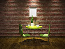 Cafe with green table Stock Photos
