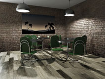 Cafe with green tables Royalty Free Stock Images