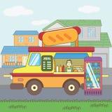 Cafe hotdog car on the street Stock Images
