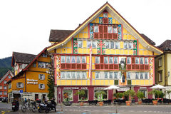 Cafe-Hotel Appenzell at Hauptgasse in historic medieval old town. Appenzell is well-known for its colourful houses Royalty Free Stock Image
