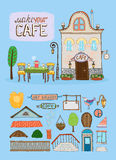 Cafe house illustration Stock Photography