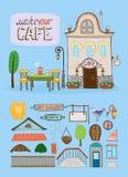 Cafe house illustration Stock Photography