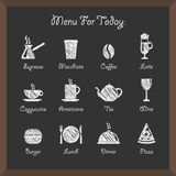 Cafe icons on board Stock Photography