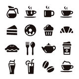 Cafe icons. Cafe elements illustration coffee, tea and sweets stock illustration
