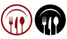 Cafe icons with fork, knife, spoon, plate Royalty Free Stock Photos