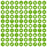 100 cafe icons hexagon green. 100 cafe icons set in green hexagon isolated vector illustration Royalty Free Stock Photography
