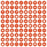 100 cafe icons hexagon orange. 100 cafe icons set in orange hexagon isolated vector illustration Stock Illustration
