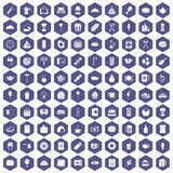 100 cafe icons hexagon purple. 100 cafe icons set in purple hexagon isolated vector illustration royalty free illustration